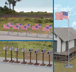 Walthers Scenemaster HO American Flags & Mailboxes 11 Post 1959 Flags 8 Mail, LIST PRICE $14.98